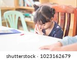 little asian girl sitting and... | Shutterstock . vector #1023162679