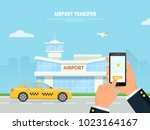 person holding phone with taxi... | Shutterstock .eps vector #1023164167