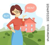 buy or rent house. woman... | Shutterstock .eps vector #1023169435