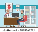 doctor at office exemining... | Shutterstock .eps vector #1023169921