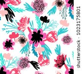 floral seamless pattern with... | Shutterstock .eps vector #1023175801