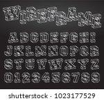 alphabet font template. set of... | Shutterstock .eps vector #1023177529