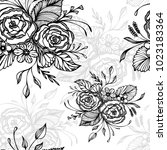 seamless pattern with flowers... | Shutterstock .eps vector #1023183364