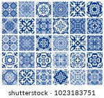vector tiles patterns. seamless ... | Shutterstock .eps vector #1023183751