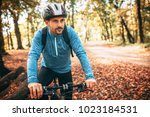 sport. a male cyclist on a... | Shutterstock . vector #1023184531