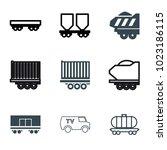 wagon icons. set of 9 editable... | Shutterstock .eps vector #1023186115