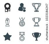award icons. set of 9 editable... | Shutterstock .eps vector #1023186247