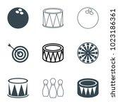 hit icons. set of 9 editable... | Shutterstock .eps vector #1023186361