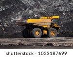 big dump truck or mining truck... | Shutterstock . vector #1023187699