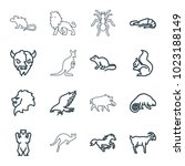 wild icons. set of 16 editable... | Shutterstock .eps vector #1023188149