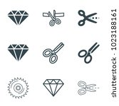 cutting icons. set of 9... | Shutterstock .eps vector #1023188161