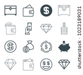 rich icons. set of 16 editable... | Shutterstock .eps vector #1023189031