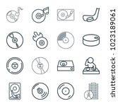 disc icons. set of 16 editable... | Shutterstock .eps vector #1023189061