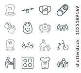 child icons. set of 16 editable ... | Shutterstock .eps vector #1023189169