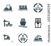 tanker icons. set of 9 editable ... | Shutterstock .eps vector #1023189259