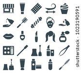 cosmetic icons. set of 25... | Shutterstock .eps vector #1023190591