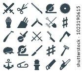 sharp icons. set of 25 editable ... | Shutterstock .eps vector #1023190615