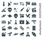 space icons. set of 36 editable ... | Shutterstock .eps vector #1023191635