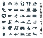 sea icons. set of 36 editable... | Shutterstock .eps vector #1023193099