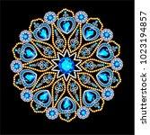 mandala brooch jewelry  design... | Shutterstock .eps vector #1023194857