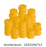 isometric euro coin stacks ... | Shutterstock .eps vector #1023196711