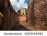 the corridor of sanchi stupa... | Shutterstock . vector #1023196981