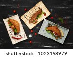 three various tasty sandwiches... | Shutterstock . vector #1023198979