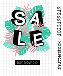 summer sale template poster.... | Shutterstock .eps vector #1023199219