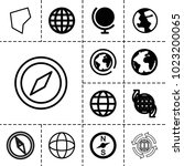 geography icons. set of 13... | Shutterstock .eps vector #1023200065