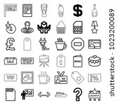 label icons. set of 36 editable ... | Shutterstock .eps vector #1023200089