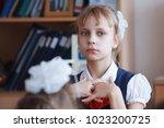 schoolchildren on the lesson in ... | Shutterstock . vector #1023200725