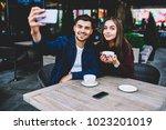 portrait of cute romantic... | Shutterstock . vector #1023201019
