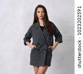 pretty female model wearing... | Shutterstock . vector #1023202591