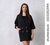 pretty female model wearing... | Shutterstock . vector #1023202594