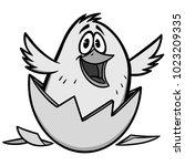 easter chick illustration   a... | Shutterstock .eps vector #1023209335