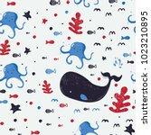 underwater creatures.cute... | Shutterstock .eps vector #1023210895