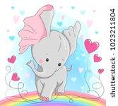 cute elephant  vector... | Shutterstock .eps vector #1023211804