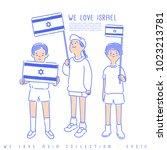 boy and girl holding national... | Shutterstock .eps vector #1023213781