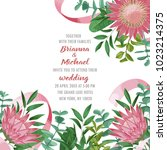 wedding invitation with protea... | Shutterstock .eps vector #1023214375
