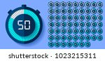 stopwatch icons set in flat... | Shutterstock .eps vector #1023215311