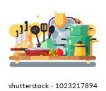 kitchen utensils design flat....   Shutterstock .eps vector #1023217894