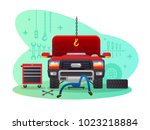 car service  garage and workshop | Shutterstock .eps vector #1023218884