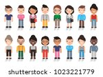 large group of cute cartoon... | Shutterstock .eps vector #1023221779