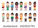 large group of cute cartoon... | Shutterstock .eps vector #1023221791