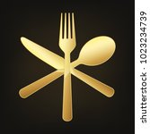 gold crossed knife  fork and... | Shutterstock .eps vector #1023234739