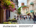 narrow streets of the old town... | Shutterstock . vector #1023235717