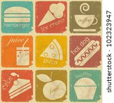 Stock vector set of vintage food labels retro signs with grunge effect vector illustration 102323947