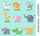 set of 9 wild jungle animals ... | Shutterstock .eps vector #102324091
