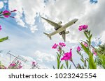the big plane delivers... | Shutterstock . vector #1023242554