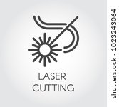 laser cutting icon drawing in... | Shutterstock .eps vector #1023243064
